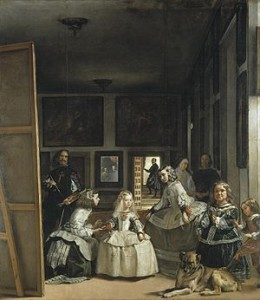 Painting Las Meninas - notice Velazquez's red cross