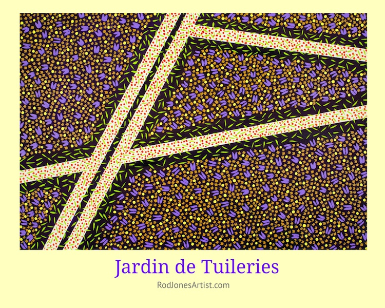 Jardin de Tuileries-The painting owes its name to the Tuileries Garden. It is a public garden located between the Louvre Museum and the Place de la Concorde in the 1st arrondissement of Paris.  Oblique and non-oblique in form which enlightens senses.